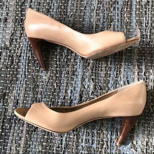 [via spiga] light tan leather peep toe wood heels